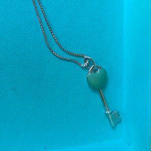 Blue Tiffany key necklace